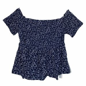 NWT OLD NAVY OFF THE SHOULDER RIBBED DETAILING FLORAL TOP SIZE LARGE